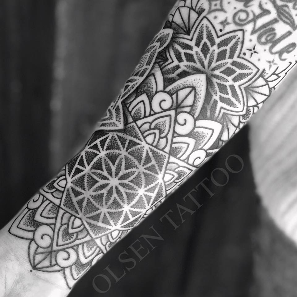 Floral Black Ink Dotwork